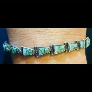 Navajo Opal Turquoise Inlay Sterling .925 Bracelet